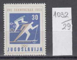 29K1032 / SPORT  Skiing Ski Sci , Olympic Games ROMA 1960 , Yugoslavia Jugoslawien Yougoslavie ** MNH - Ski
