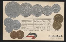 GERMANY - Numismatic Postcard - Set Of Coins - Embossed (APAT#114) - Non Classés