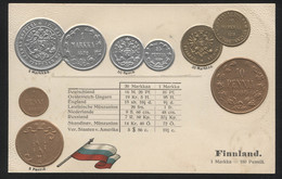 FINLAND - Numismatic Postcard - Set Of Coins - Embossed (APAT#112) - Finland