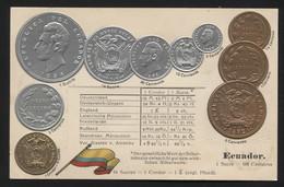 ECUADOR - Numismatic Postcard - Set Of Coins - Embossed (APAT#111) - Equateur