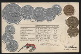 SERBIA - Numismatic Postcard - Set Of Coins - Embossed (APAT#127) - Serbia