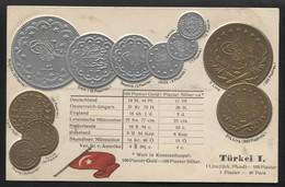 TURKEY - Numismatic Postcard - Set Of Coins - Embossed (APAT#110) - Turquie