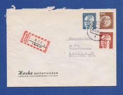 BERLIN R-Brief, Einschreiben MiF Braunkohlenförderbagger, 30 U. 50Pfg Heinemann 1977 - Briefe U. Dokumente