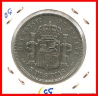 ESPAÑA MONEDA DE ALFONSO XIII. 5 PESETAS PLATA 1894 -- V-PG - Primeras Acuñaciones