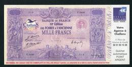 """Beau Billet Fictif Fantaisie 1000 Francs """"10e Edition Des Foires à L'Ancienne Challans - Banque Populaire Anjou Vendée"""" - Specimen"""