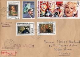 MARILYN MONROE Stamps - Enveloppe Timbres Madagascar Debussy Manet - Donne Celebri