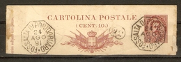 Italie 1891 - Humbert I - Fragment D' Entier Postal - YT 59 10 C - 2 Très Beaux Cachets FOSSALTA DI PORTOGRUARO - 1878-00 Humbert I