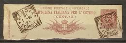 Italie 1891 - Humbert I - Fragment D' Entier Postal - YT 59 10 C - 2 Très Beaux Cachets GENOVA FERROVIA - 1878-00 Humbert I