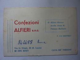 """Cartoncino Pubblicitario """"CONFEZIONI ALFIERI S.n.c. CAVA DEI TIRRENI"""" - Cartoncini Da Visita"""