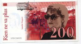 """Billet De Banque Fictif Specimen """"200 Francs / Rien Ne Va Plus - Film De Claude Chabrol - Isabelle Huppert 1997"""" Cinéma - Specimen"""
