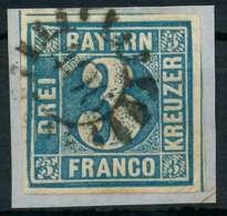 BAYERN QUADRATE Nr 2II GMR 406 Zentrisch Gestempelt Briefstück X88244E - Bavière