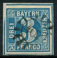 BAYERN QUADRATE Nr 2II GMR 402 Zentrisch Gestempelt Briefstück X882456 - Bavière