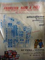 """Volantino """"FRANCESCO NARDI & FIGLI OFFICINA COSTRUZ. MACCHINE AGRICOLE SELCI - LAMA ( PG ) 67° FIERA DI VERONA 1965"""" - Manoscritti"""