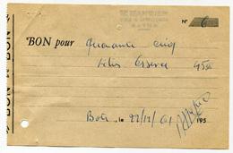 """Rare Billet """"bon Pour Cinq Litres D'essence"""" - 1961 - E. Marmief à Batna - Algérie Française - Colonies Françaises - Bons & Nécessité"""