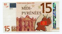 """Billet De Banque """"15 Euros / Midi - Pyrénées"""" 2008 - CGB"""" Billet Fictif De Fantaisie 15€ - Banknote - EURO"""
