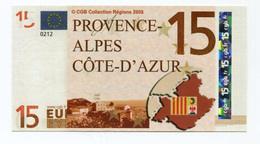 """Billet De Banque """"15 Euros / Provence - Alpes - Côte D'Azur"""" Marseille - CGB - Billet Fictif De Fantaisie 15€ - Banknote - Specimen"""