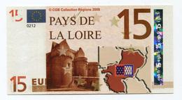 "Billet De Banque ""15 Euros / Pays-de-Loire"" 2008 - CGB - Billet Fictif De Fantaisie 15€ - Banknote - EURO"