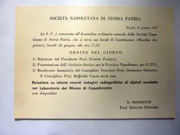 """Cartoncino Invito """"SOCIETA' NAPOLETANA DI STORIA PATRIA Assemblea Ordinaria Soci 27 Giugno 1972"""" - Programmi"""