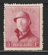BELGIQUE - N°177 *  (1919) 5 Fr Carmin - 1919-1920 Behelmter König