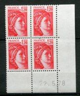 10692  FRANCE  N°1974 ** 1F 20 Rouge  Sabine  G.T  C.D Du  22.5.78    TB - 1970-1979