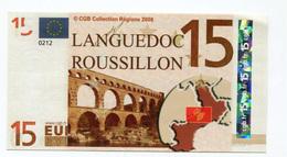 """Billet De 15 Euros """"Languedoc - Roussillon"""" 2008 - CGB - Billet Fictif 15€ - Banknote - Specimen"""
