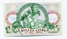 """Rare Billet Nécessité """"50 Fr Billet-Livre - Les Mots Tordus / Librairie Des Chalands - Val-de-Reuil"""" Eure - Normandie - Specimen"""