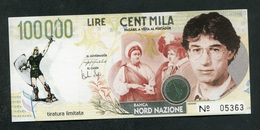 "Billet De Banque 1996 Ligue Du Nord ""100000 Cincentmila - Banca Della Padania Libera E Independente"" Italie - [ 8] Fictifs & Specimens"