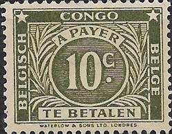 BELGIAN CONGO 1943 Postage Due - 10c - Olive MH - Congo Belge