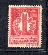 XP3091 - REPUBBLICA 1949 ,  20 Lire N. 611  Usato.  Volta 14 1/4  .Filigrana Lettere - 6. 1946-.. Repubblica