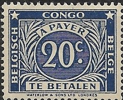 BELGIAN CONGO 1943 Postage Due - 20c - Blue MH - Congo Belge