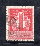 XP3106 - REPUBBLICA 1949 ,  20 Lire N. 611  Usato.  Volta 14 1/4  .Filigrana Lettere - 6. 1946-.. Repubblica
