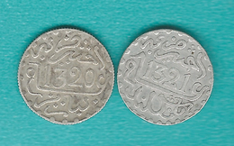 Morocco - Abd Al-Aziz - ½ Dirham / 1/20 Rial - AH1320 (1902) Paris & AH1321 (1903) - Birmingham (KMYs 18.1 & 18.2) - Maroc