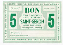 """Billet De Nécessité """"Bon Pour 5 Bouteilles D'eau Minérale Saint Géron / Arvant / Haute-Loire"""" - Bons & Nécessité"""
