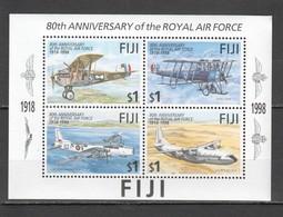 C427 1998 FIJI AVIATION 80TH ANNIVERSARY ROYAL AIR FORCE 1KB MNH - Vliegtuigen