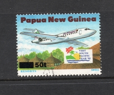 1995 Overprint PAPUA NEW GUINEA Airliner Over Holiday Village - Surcharged 50t VERY FINE USED Jet Airplane - Papouasie-Nouvelle-Guinée