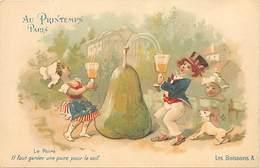 -ref-A959- Magasins - Publicité Magasins Du Printemps - Paris - Les Boissons A - Le Poiré - Illustrateur - Ilustrateurs - Magasins