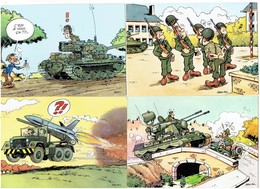 Lot 4 Humour Militaria Soldat Voiture Avion Char Fusil Paysan MAEZELLE 22.010/42-58-53-47 Illustration JEAN POL - Humor
