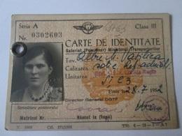 Romanian Class III Railways Identity Card From 1952,size=104 X 74 Mm - Chemins De Fer