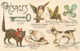 -ref-A951- Astrologie - Horoscope -  Présages - Langage - Langages - Chien - Chat Noir - Trefle Porte Bonheur - - Astrologie