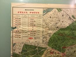 Plan De PARIS Et Environs De PARIS. - Magasins FELIX POTIN ( 61cm Sur 48cm ) - Cartes Routières