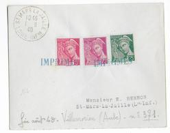 """1940 - DEBACLE : EVACUATION MATERIEL POSTAL => CACHET """"IMPRIMES"""" Sur ENVELOPPE De VILLEMORIEN (AUBE) - Marcophilie (Lettres)"""