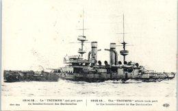 """Bateau De Guerre - Paquebot - Le """"Triumph """" Qui Prit Part Au Bombardement Des Dardanelles - 1914 -15         ** - Guerre"""