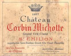 ETIQUETTE De VIN Château CORBIN MICHOTTE 1967 SAINT EMILION (1)Vignoble Bordeaux ETAT=voir Description - Bordeaux