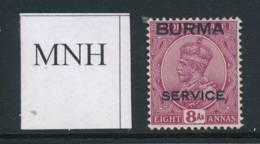 BURMA, 1937 SERVICE 8As Superb Unmounted Mint MNH, Cat £13++ - Birma (...-1947)
