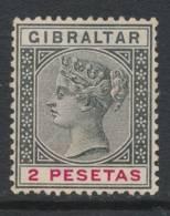 GIBRALTAR, 1889 2 Peseta Unused No Gum, Cat £12 - Gibraltar