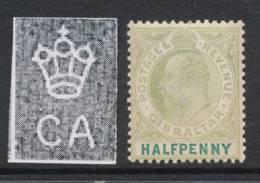 GIBRALTAR, 1903 ½d Wmk Crown CA Unused No Gum, Cat £14 - Gibraltar