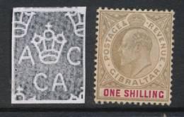 GIBRALTAR, 1904 1/- (ordinary Paper) Unused No Gum, Cat £65 - Gibraltar