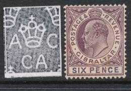GIBRALTAR, 1904 6d (ordinary Paper) Unused No Gum, Cat £50 - Gibraltar