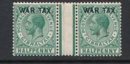GIBRALTAR, 1918 ½d WAR TAX Gutter Pair, Unmounted Mint, Gum Crease In Gutter - Gibraltar