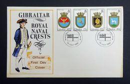 Gibraltar 1990 Yt.611-614/SG638-641 Commemorative First Day Cover (FDC) Royal Navy Crests. - Gibraltar